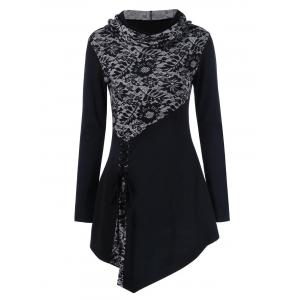 Lace-Up Asymmetrical Long Sleeve Hooded T-Shirt