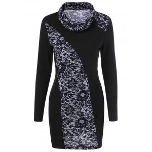 Floral Trim Cowl Neck Long Sleeve Dress - White And Black - L