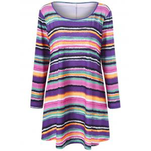 Plus Size Rainbow Striped Longline Top - Colormix - 4xl