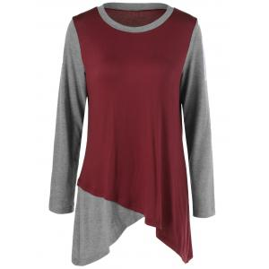Plus Size Two Tone Asymmetrical T-Shirt