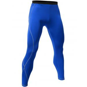 Skinny Quick Dry Stitching Gym Pants - Royal - M