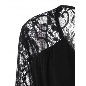 Plus Size Lace Panel Sheer Ruched T-Shirt - BLACK 5XL