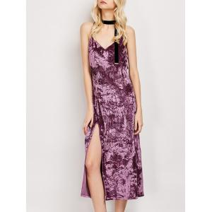 Side Slit Crushed Velvet Midi Slip Dress - Fuchsia Rose - S