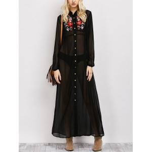 Long Sleeve Floral Button Up Sheer Maxi Shirt Dress - Black - S