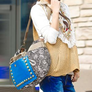 Ethnic Style Rivets and Splice Design Women's Tote Bag -