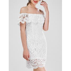 Off Shoulder Lace Flounce Sheath Party Dress - White - S