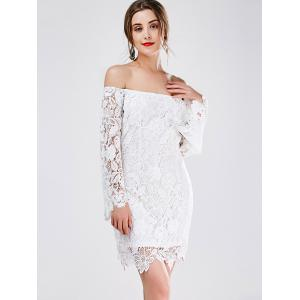 Off The Shoulder Long Sleeve Lace Mini Dress -