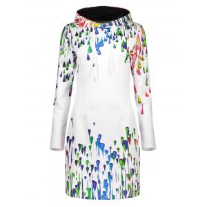 Colorful Oil Paint Printed Hooded Dress - White - S