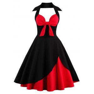 Two Tone Vintage Rockabilly Party Skater Dress - Red With Black - S