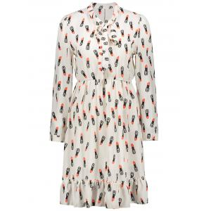 Plus Size Lipstick Printed Pussy Bow Chiffon Shirt Dress
