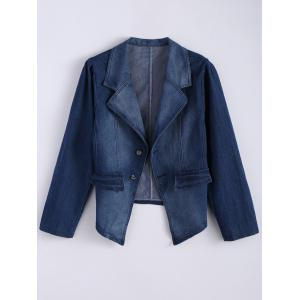 Lapel Jean Two Button Design Jacket - Denim Blue - Xl