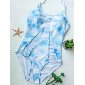 Halter Tie-Dyed Cutout One-Piece Swimwear