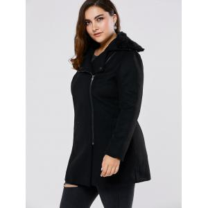 Fur Collar Plus Size Long Wool Blend Coat -