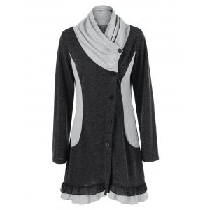 Ruched Ruffled Button Up Cardigan - Black Grey - L