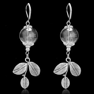 Glass Ball Dandelion Leaf Earrings - Silver