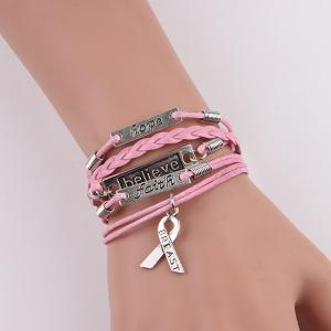 Engraved Believe Braid Artificial Leather Bracelet - Pink - One Size