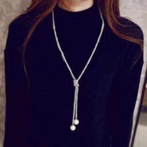 Artificial Pearl Sweater Chain - Silver