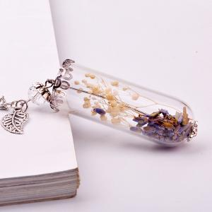 Leaf Wish Glass Ball Pendant Necklace - WHITE