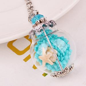 Conch Starfish Glass Ball Pendant Necklace - Blue
