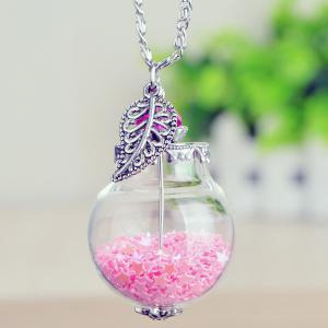 Star Leaf Glass Ball Pendant Necklace - Pink