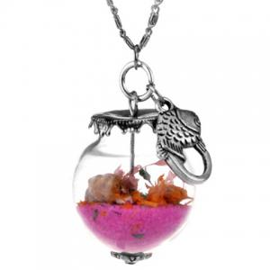 Glass Ball Conch Fish Pendant Necklace - Pink