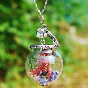 Glass Ball Dry Flower Pendant Necklace - Red