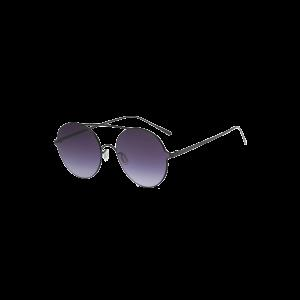 Crossbar Metallic Round Sunglasses - Black