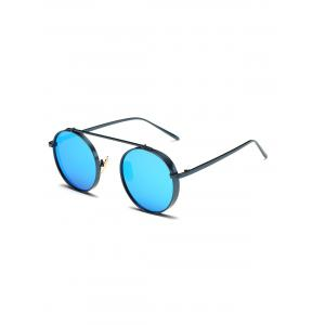 Round Chunky Frame Metal Mirrored Sunglasses