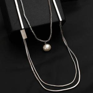 Artificial Pearl Layered Vintage Sweater Chain