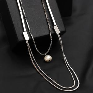 Artificial Pearl Layered Vintage Sweater Chain - SILVER