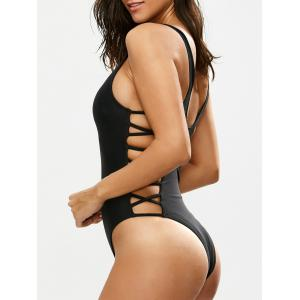 Lacing Up One Piece Swimsuit - Black - Xl