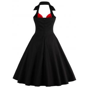 Two Tone Vintage Rockabilly Party Skater Dress - RED WITH BLACK 2XL