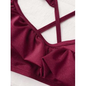 Frilled High Rise Bikini - BURGUNDY XL