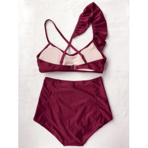 Frilled High Rise Bikini - BURGUNDY M