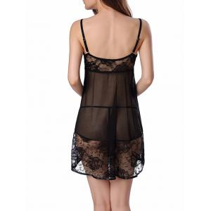 Lace Panel Sheer Mesh Backless Babydoll -