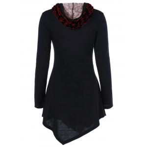 Lace-Up Asymmetrical Long Sleeve Hooded T-Shirt - CHERRY RED 4XL