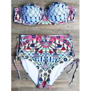 High Waisted Lace-Up Printed Bikini Set