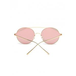 Crossbar Metallic Round Mirrored Sunglasses -
