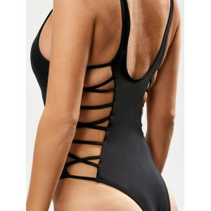 Lacing Up One Piece Swimsuit - BLACK XL