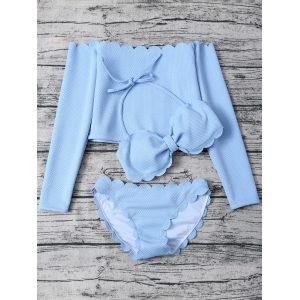 Halter Three Piece Scalloped Bathing Suit - LIGHT BLUE XL