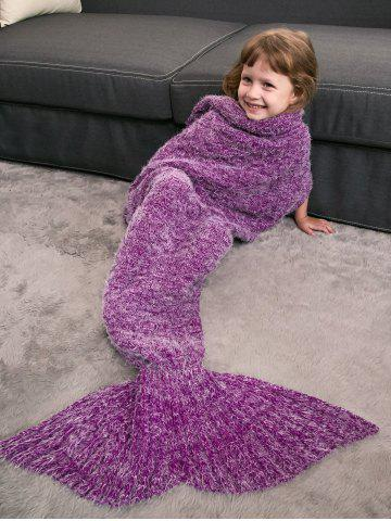 Kids' Crochet Knitted Faux Mohair Mermaid Blanket Throw - Violet Rose - One Size