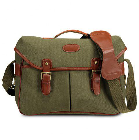 Canvas Double Buckles Camera Bag - Green - 40