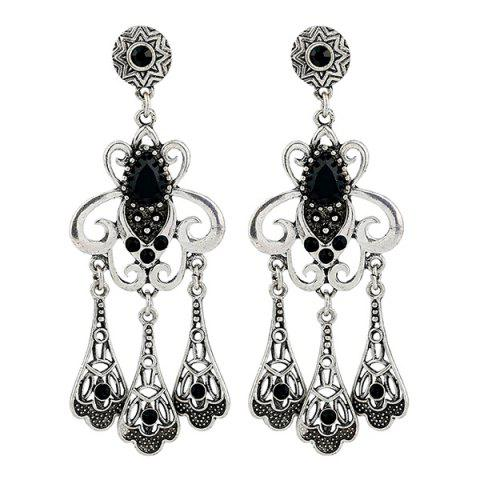 Statement Rhinestone Hollow Out Earrings - Silver