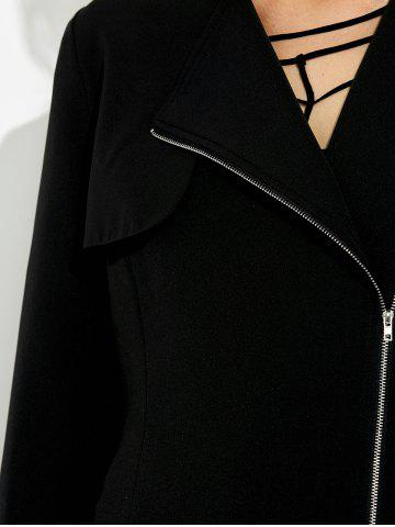 Latest Lapel Collar Asymmetrical Zipper Coat - XL BLACK Mobile