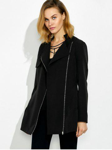 Cheap Lapel Collar Asymmetrical Zipper Coat - XL BLACK Mobile