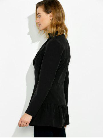 Outfit Lapel Collar Asymmetrical Zipper Coat - XL BLACK Mobile