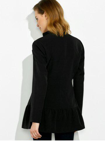 Chic Lapel Collar Asymmetrical Zipper Coat - XL BLACK Mobile
