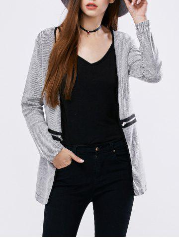 Unique Zipper Open Front Cardigan LIGHT GRAY M