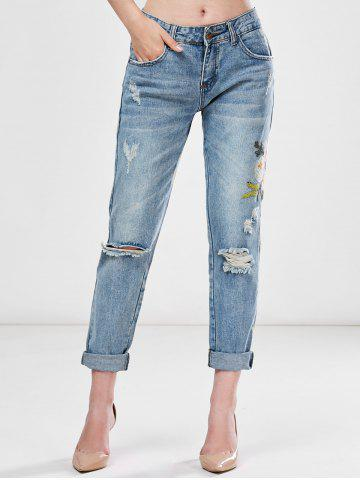 Fashion Light Wash Embroidered Ripped Jeans