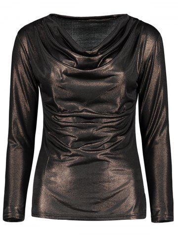 Store Cowl Neck Metallic Ruched Tee